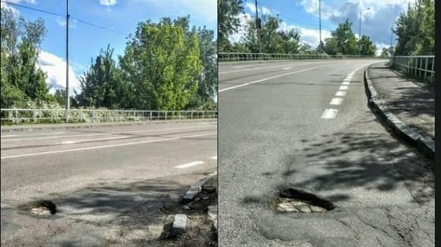 Pardubáci pojmenovávají díry na silnicích. Vymetli Lojzu i Bedřicha. Foto: FB/Pardubické dopravní zpravodajství