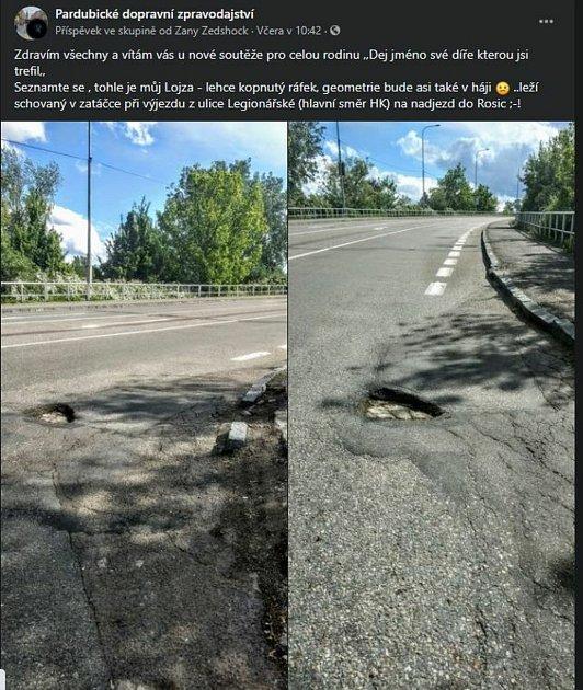 Pardubáci pojmenovávají díry na silnicích. Vymetli Lojzu iBedřicha. Foto: FB/Pardubické dopravní zpravodajství