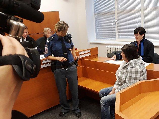 Obviněná Marie Kramaříková. Svého druha usmrtila jednou ranou nožem do srdce.