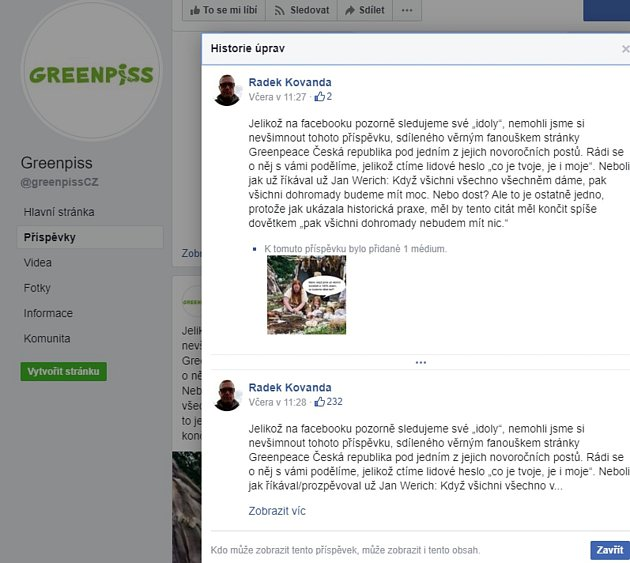 Některým uživatelům se chybu Facebooku podařilo vyfotit. Stejné jméno stálo za příspěvky na stránce jak chvaletické elektrárny, tak na stránce Greenpiss.