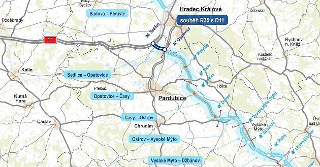 27 KILOMETRŮ zOpatovic do Ostrova. Oranžově je vyznačena část D35, která byla již předána stavbařům. Hotovo zde bude vprůběhu roku 2022.