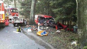 Tragicky skončil náraz dodávky u Jedlové na Svitavsku. Dva lidé byli těžce zraněni, třetí zemřel.