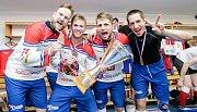 Oslavy světového hokejbalového bronzu pro Česko.