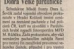 První strana Pardubických novin ze dne 15. října 1992. Zdroj: Státní okresní archiv Pardubice