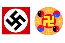 Nejsou stejné. Nacistická svastika neboli hákový kříž (vlevo) je takzvaný pravotočivý. Buddhistický symbol užívaný hnutím Falun Gong je zalomen opačným směrem a je starší o pár set let.