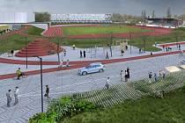 Vítězný návrh nové podoby atletického stadionu na Dukle.
