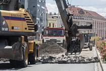 Začátek rekonstrukce Masarykova náměstí v Pardubicích.
