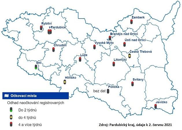 Mapa očkovacích center súdaji ojejich vytíženosti.