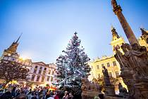 Slavnostní rozsvěcení vánočního stromu v Pardubicích na Pernštýnském náměstí.