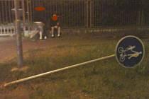 Rodičům siláka z parku přijde domů účet za noc     na záchytné stanici a za poničenou dopravní značku