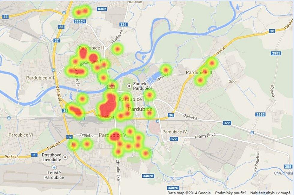Nálezy použitých injekčních stříkaček v Pardubicích jak je zaznamenala Městská policie Pardubice.