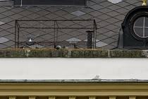 Holubí pas na střeše základní školy v Přelouči
