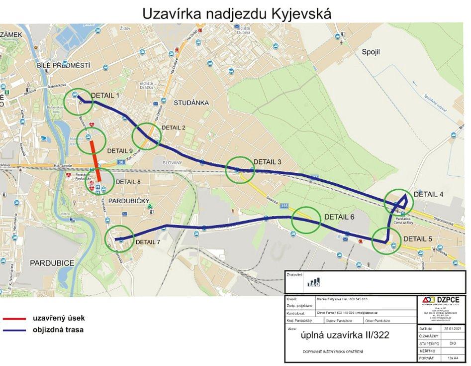 Mapa objízdné trasy - po celou dobu uzavírky nadjezdu musí řidiči do centra jet přes Černou za Bory.