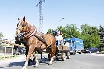 Protest zemědělců na Pardubicku. Ze Starého Hradiště vyrazil v čele blokády koňský povoz.