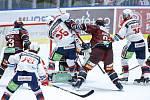 Hokejové utkání Tipsport extraligy v ledním hokeji mezi HC Dynamo Pardubice (v bíločerveném) a HC Sparta Praha (v červeném) v pardudubické enterie areně.