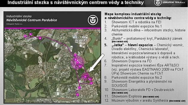 Mapa industriální stezky s návštěvnickým centrem