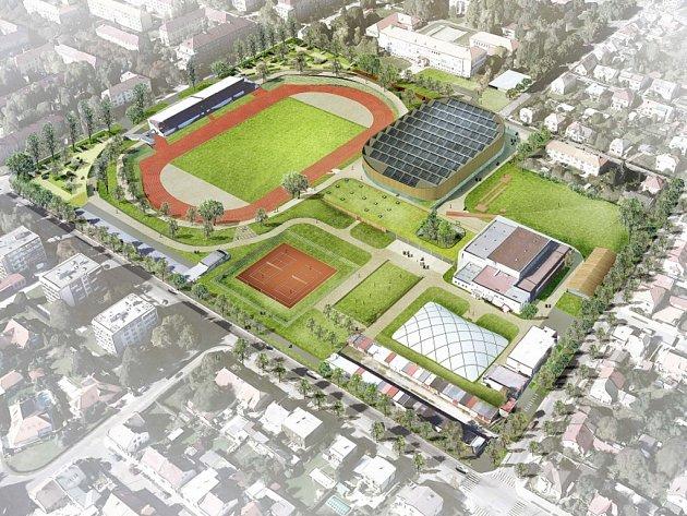 Budoucí možná podoba Atletického areálu v Pardubicích.