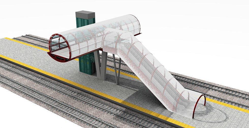 Vizualizace lávky přes pardubické nádraží.