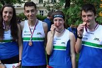 Úspěšní pardubičtí dorostenci – zleva Jana Peterová, Jonáš Fencl, Anna Kopecká a Jan Rusín.