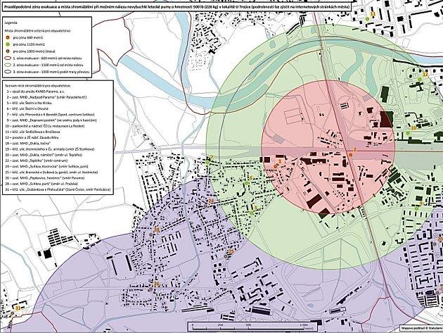 Evakuační zóny pro případ nálezu bomby