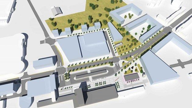 Možná podoba nového obchodního, bytového a administrativního komplexu na místě bývalého lihovaru a autobusového nádraží v Pardubicích.