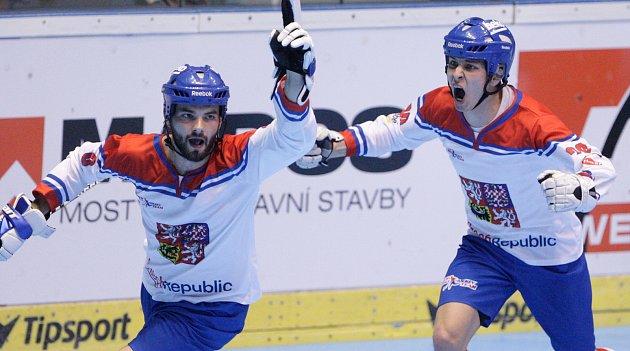 Hokejbalové utkání Mistrovství světa mezi Českou republikou a Švýcarskem vpardubické Tipsport Aréně.