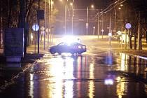 Havárie vodovodního řadu v ulici Kpt. Bartoše v Pardubicích v únoru 2015