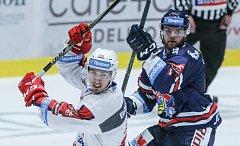 Utkání Tipsport extraligy v ledním hokeji mezi HC Dynamo Pardubice (bílém) a HC Vítkovice Ridera