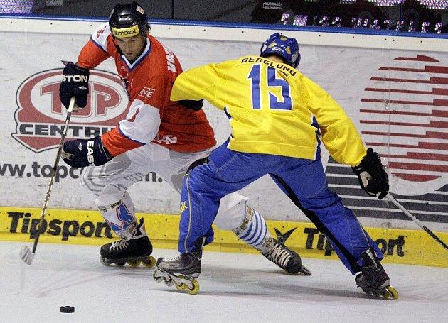 Z utkání Mistrovství světa v in–line hokeji mezi Českou republikou a Švédskem 8:4.