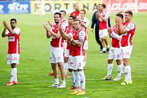 Fotbalové utkání Fortuna:ligy mezi FK Pardubice a FC Viktoria Plzeň na Městském stadionu Ďolíček v Praze.