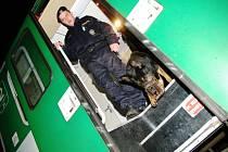 S kontrolou odstavených vagónů v Pardubicích pomáhal i služební pes