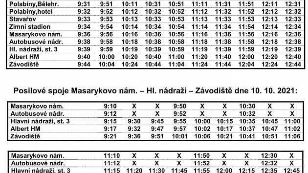 V neděli 10. října dopravní podnik zajistí v Pardubicích kyvadlovou dopravu diváků na závod Velká pardubická se Slavia pojišťovnou. Posílené spoje budou mít více trasy. Pojedou z Polabin, Dubiny, Hlavního nádraží i Masarykova náměstí.