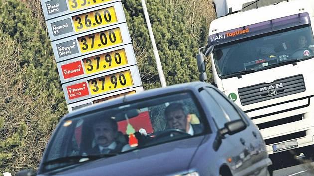 To ještě není zdaleka nejvíc... Sehnat na hradeckém městském okruhu pumpu, kde by byl natural levnější než na benzince na snímku, začíná být obtížné. Růst cen pohonných hmot se navíc nezastaví, i když už nebude tak rychlý jako v posledních dvou týdnech.