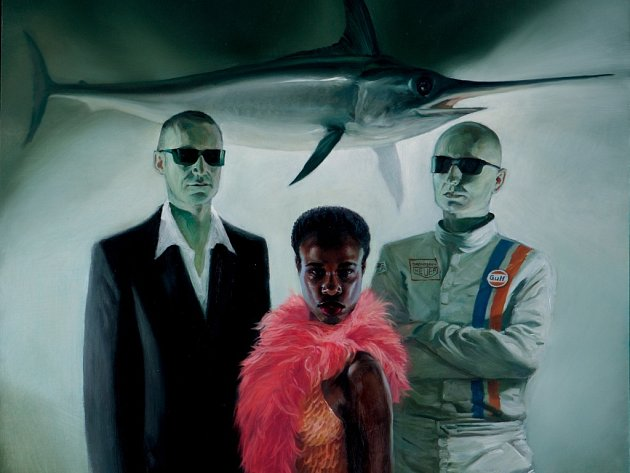 Petr Venkrbec (zleva), Tonya Graves a Miroslav Papež jako The Stylists