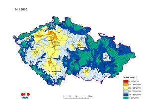 Sucho v lednu?! Zhruba na třetině území Česka stále panuje půdní sucho (žlutá a oranžová pole). V tomto období by přitom měl být vláhy nadbytek. Nestačí se ani doplnit podzemní vody.