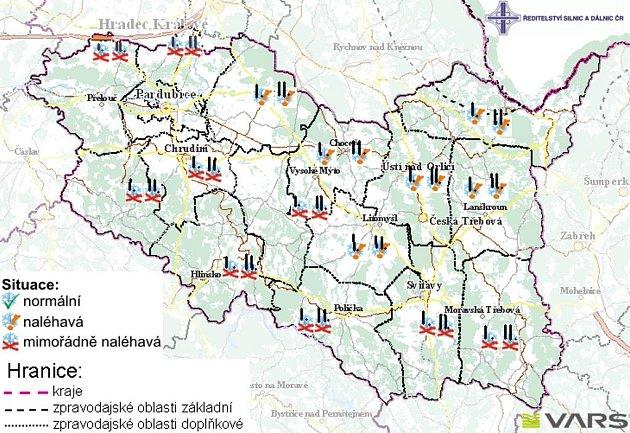 Sjízdnost silnic Pardubického kraje - 23.listopadu 2008 - čas: 12:30