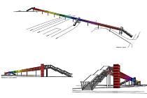 Možný vzhled lávky pro pěší, která má spojovat Duklu a hlavní nádraží