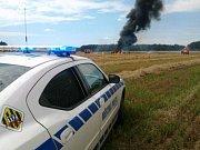 Požár traktoru u Lázní Bohdaneč způsobil škodu za jeden milion korun