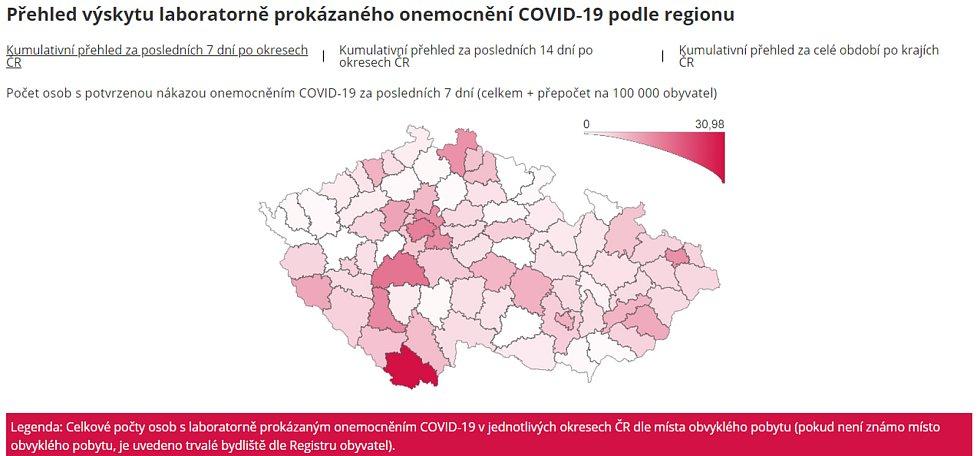 Přehled výskytu laboratorně prokázaného onemocnění COVID-19 podle regionu.