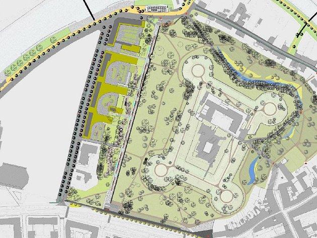 Pardubické Tyršovy sady budoucnosti. Takto by měl podle studie městský park vypadat po plánované rekonstrukci.