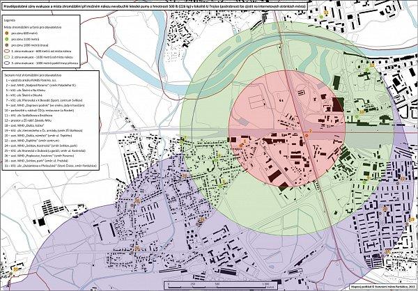 Plány evakuace Pardubic vpřípadě nálezu bomby