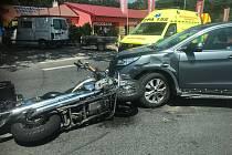 Vážná nehoda motocyklu u Starých Čívic.