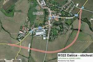 Budovaný obchvat Dašic bude jedním z přivaděčů D35 a ulehčí dopravě v dvoutisícovém městečku. Zdroj: Mapy.cz