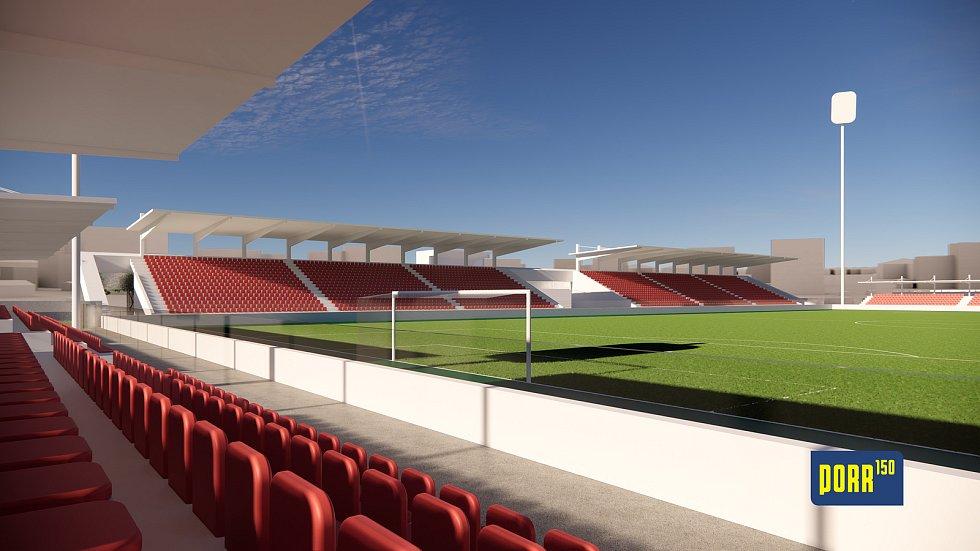 Vizualizace fotbalového stadionu od společnosti Porr.