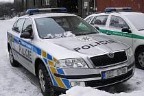 Utržený led ze střechy poškodil v Pardubicích policejní automobil zaparkovaný před služebnou na sídlišti Dubina