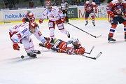 Třetí zápas čtvrtfinále play off Dynamo Pardubice - Oceláři Třinec 3:2.