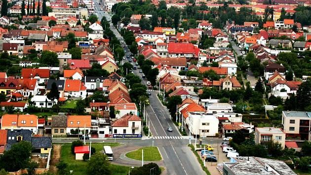 Letecký pohled na ulici Chrudimská