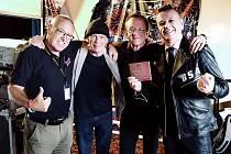 Britská premiéra nahrávky Man From Manhattan. Zleva Jim Jenkins, Eddie Howell, Mike Moran a Jiří Ševčík.