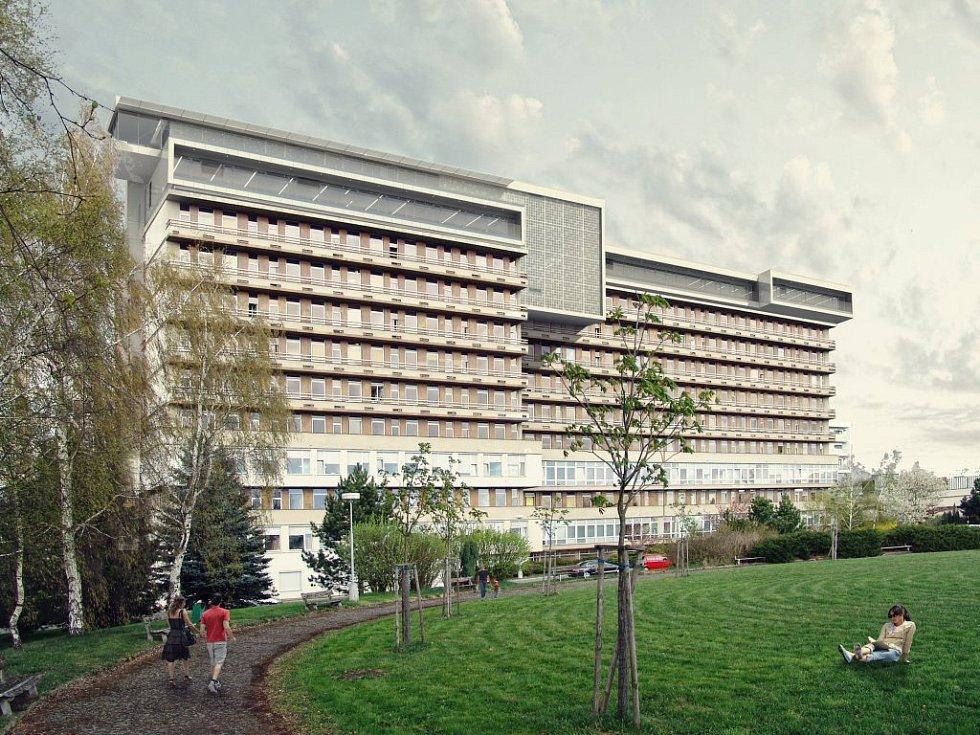 Nad stávající osmipatrovou budovou by měla vzniknout nástavba. V komplexu ze skla a dřeva by měly být ordinace, pokoje pro pacienty a dárce i laboratoře.