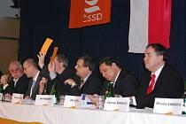 Krajské konference ČSSD v Nýřanech se zúčastnil i předseda strany Jiří Paroubek.